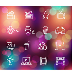 cinema line icons on the colorful background with vector image