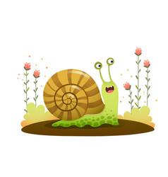 Cute cartoon snail crawling vector