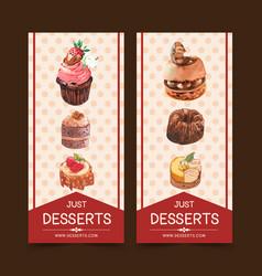 Dessert flyer design with cupcake chocolate cake vector