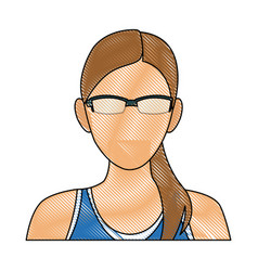 drawing portrait woman sport concept wearing smart vector image