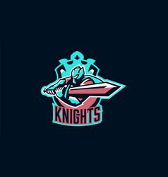 Emblem of a knight waving a sword paladin vector