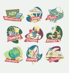 emblems of school subjects vector image