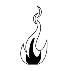 fire flamme symbol black and white vector image