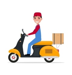 Flat cartoon delivery man on a scooter vector