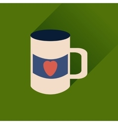 Flat web icon with long shadow cup heart vector