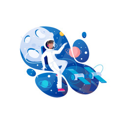 flat young man cosmonaut in space with spacesuit vector image