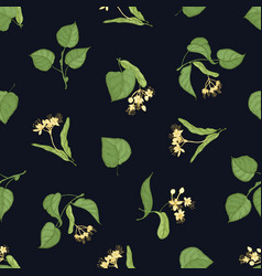 floral seamless pattern with linden leaves and vector image