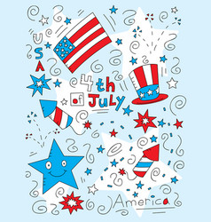 Fourth july doodle vector