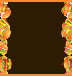 Frame from tasty burger grilled beef and fresh vector