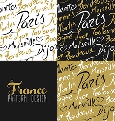 France travel love city seamless pattern gold text vector image