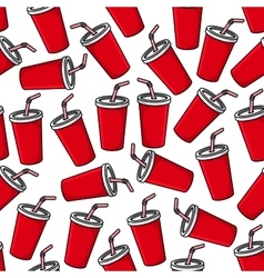 Fresh soda paper cups seamless pattern vector image
