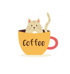 funny kitten sitting in a cup coffee vector image