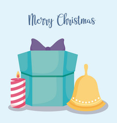 Gift box with candle and bell of christmas vector