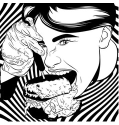 hand drawn of girl eating burger artwork in vector image