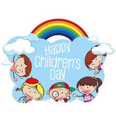 Happy childrens day kid concept vector