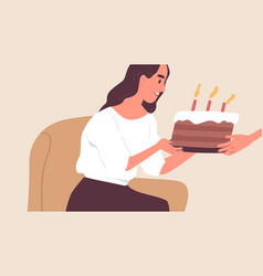 happy young woman receiving sweet chocolate cake vector image