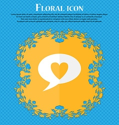 Heart sign icon Love symbol Floral flat design on vector image
