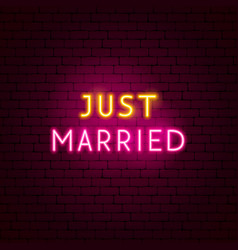 just married neon sign vector image
