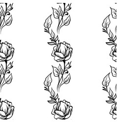 lace elegant line art vintage pattern with flowers vector image