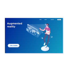 Landing page template of virtual augmented reality vector