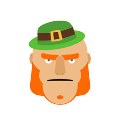 leprechaun in green hat face head with red beard vector image
