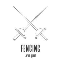 Line style icon a crossed rapiers fencing vector