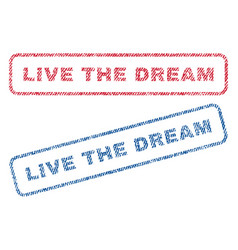 Live the dream textile stamps vector
