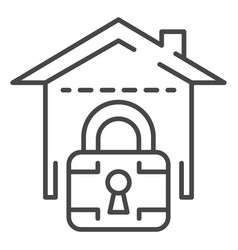 locked smart house icon outline style vector image