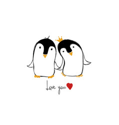 Love card with couple of penguins vector