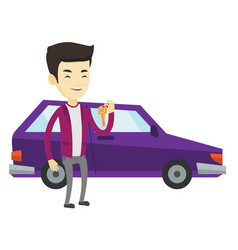 Man holding keys to her new car vector