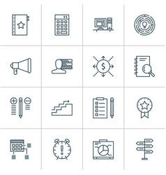 management icons set with award decision making vector image