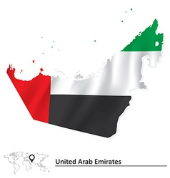 Map of United Arab Emirates with flag vector image