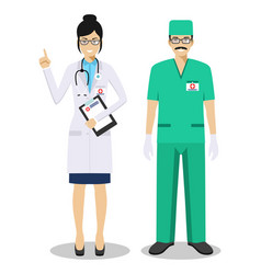 Medical teamwork concept detailed couple of vector