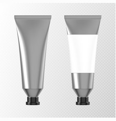 Metal tube for hand cream or paints 3d mockup vector