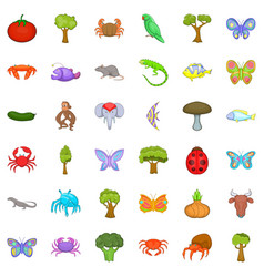 Nature world icons set cartoon style vector