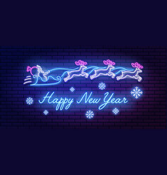 neon sign lettering happy new year with santa vector image