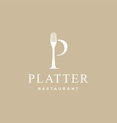 p letter mark fork food restaurant logo icon vector image