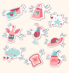 pack love stickers valentines labels set vector image