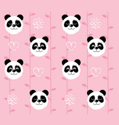 Panda head pattern on pink background vector