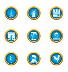 Paris city icons set flat style vector