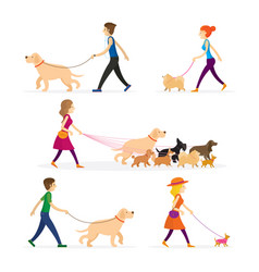 People walking with dogs set vector