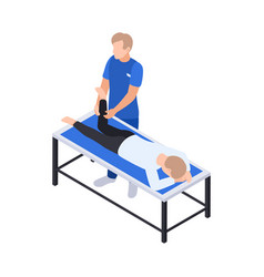 Physiotherapy leg massage composition vector