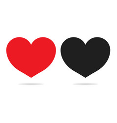 red and black heart icons isolated on white vector image