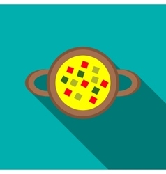 Ring with precious stones icon flat style vector