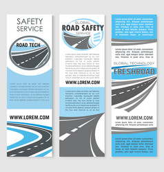 Safety road construction service banners vector