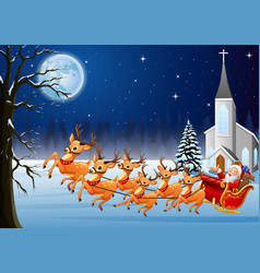 santa claus rides reindeer sleigh in front of chur vector image