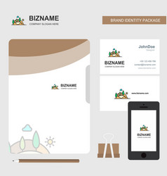 scenery business logo file cover visiting card vector image