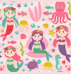 seamless pattern pink with mermaid vector image
