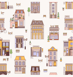 seamless pattern with city buildings elegant vector image