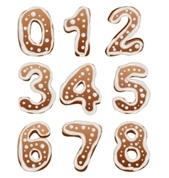 Set Baking gingerbread number vector